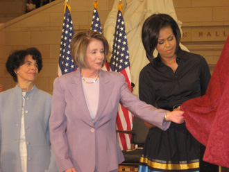 Artis Lane, Speaker Nancy Pelosi, First Lady Michelle Obama at Sojourner Truth Bust Unveiling
